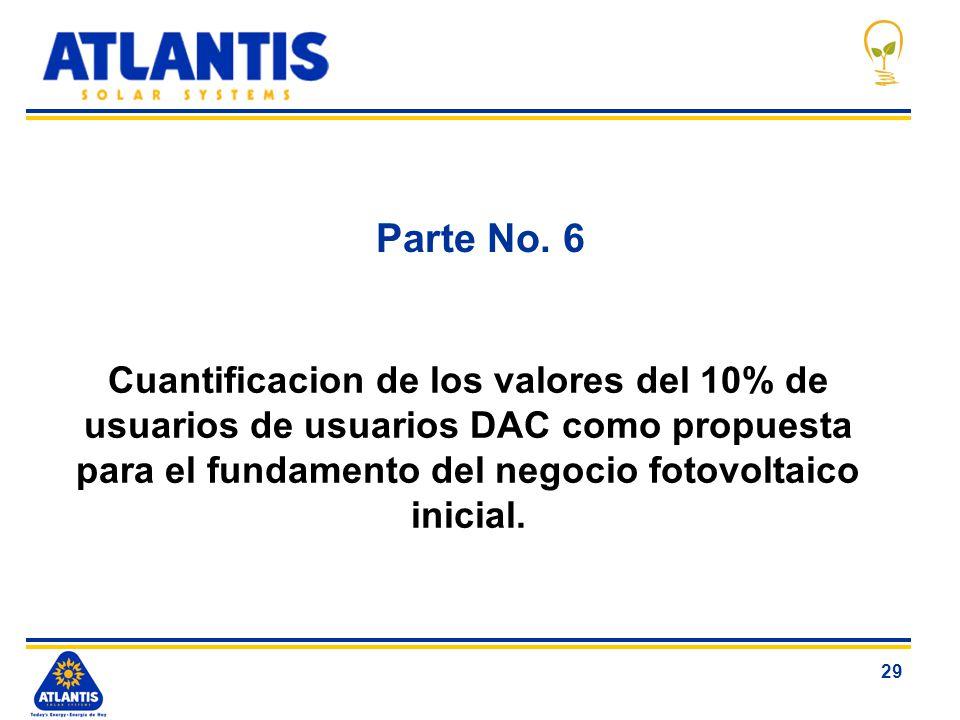 29 Parte No. 6 Cuantificacion de los valores del 10% de usuarios de usuarios DAC como propuesta para el fundamento del negocio fotovoltaico inicial.