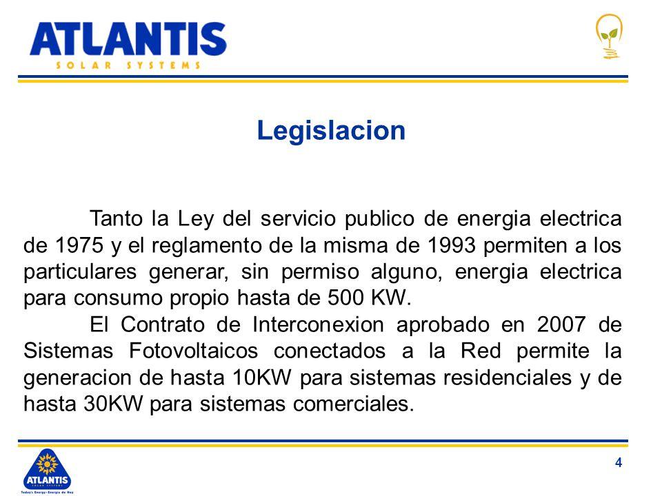 4 Legislacion Tanto la Ley del servicio publico de energia electrica de 1975 y el reglamento de la misma de 1993 permiten a los particulares generar,