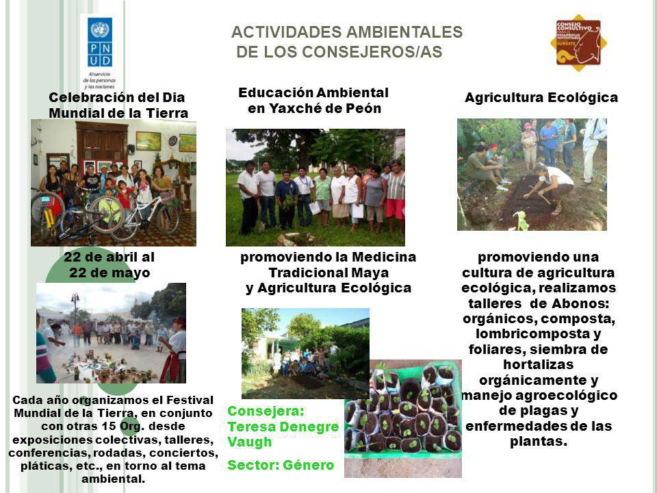 ACTIVIDADES AMBIENTALES DE LOS CONSEJEROS/AS Celebración del Dia Mundial de la Tierra 22 de abril al 22 de mayo Cada año organizamos el Festival Mundi