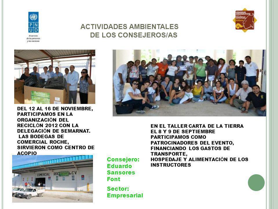 ACTIVIDADES AMBIENTALES DE LOS CONSEJEROS/AS DEL 12 AL 16 DE NOVIEMBRE, PARTICIPAMOS EN LA ORGANIZACI Ó N DEL RECICL Ó N 2012 CON LA DELEGACI Ó N DE S