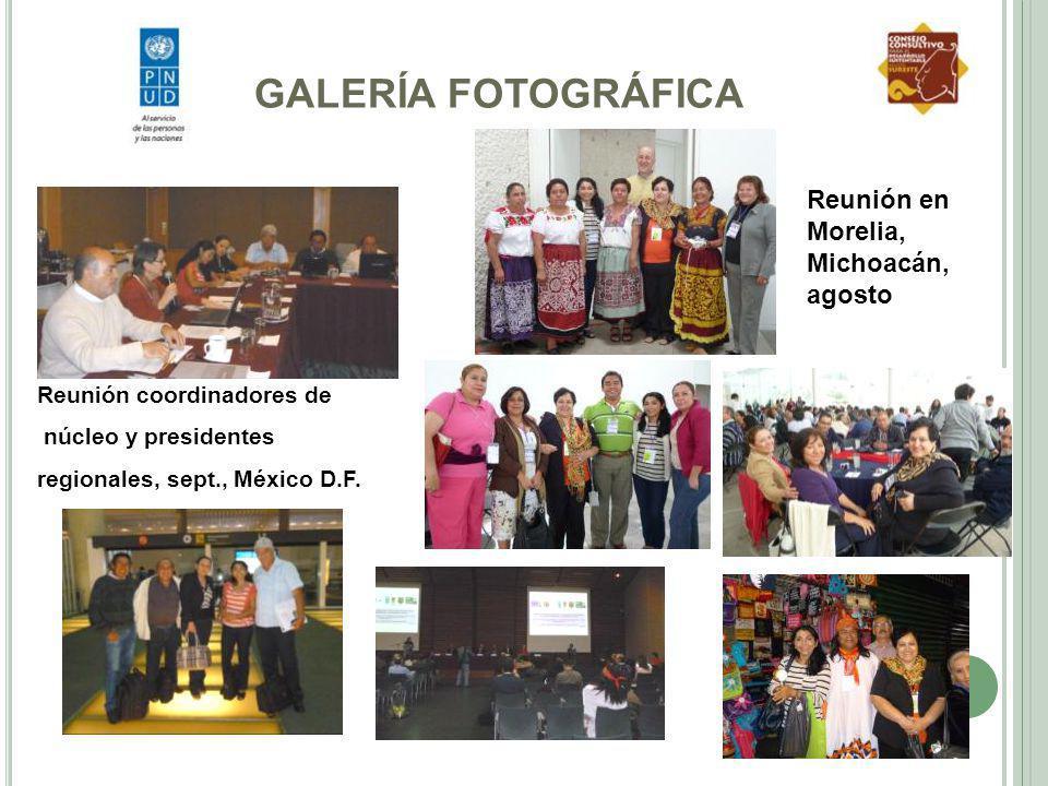 GALERÍA FOTOGRÁFICA Reunión coordinadores de núcleo y presidentes regionales, sept., México D.F. Reunión en Morelia, Michoacán, agosto