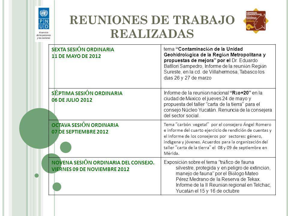 REUNIONES DE TRABAJO REALIZADAS SEXTA SESI Ó N ORDINARIA 11 DE MAYO DE 2012 tema Contaminaci ó n de la Unidad Geohidrol ó gica de la Regi ó n Metropol