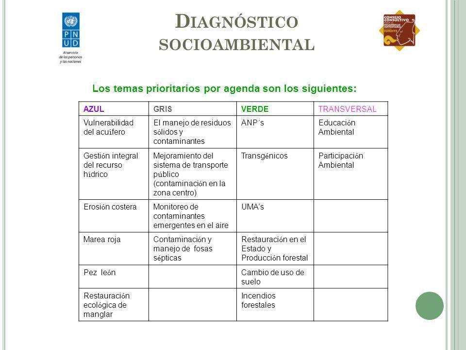 D IAGNÓSTICO SOCIOAMBIENTAL Los temas prioritarios por agenda son los siguientes: AZULGRISVERDETRANSVERSAL Vulnerabilidad del acu í fero El manejo de