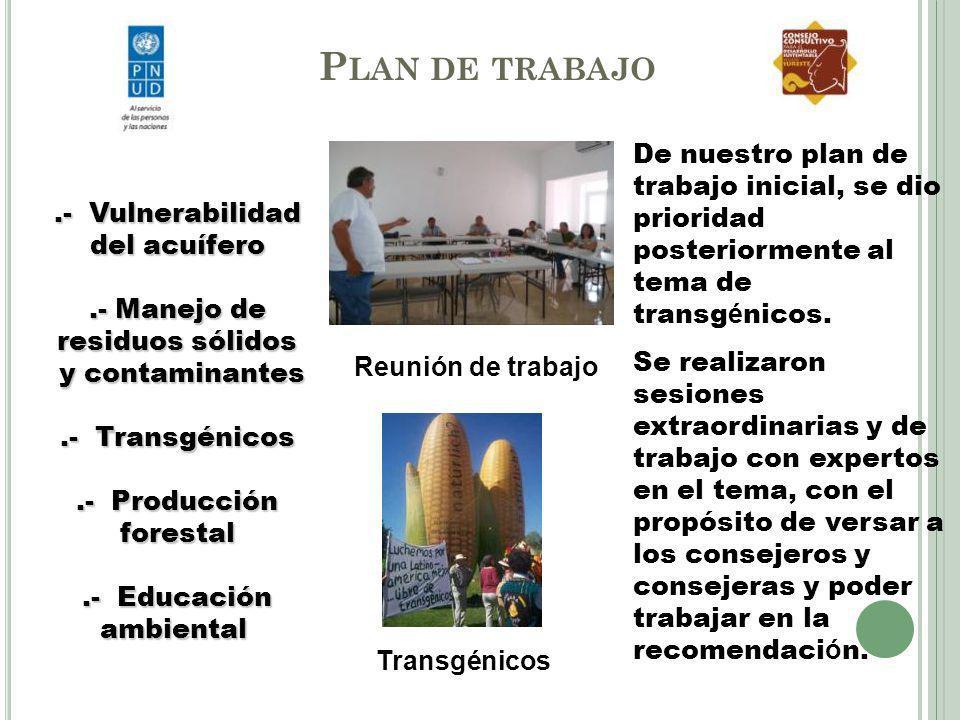 P LAN DE TRABAJO.- Vulnerabilidad del acuífero.- Manejo de residuos sólidos y contaminantes y contaminantes.- Transgénicos.- Producción forestal.- Edu