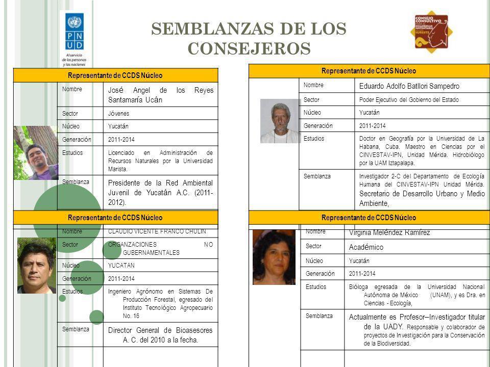 ACTIVIDADES AMBIENTALES DE LOS CONSEJEROS/AS La biodiversidad de Yucatán, problemática y perspectivas Participación en la primera reunión del sector académico, mesa de diálogo: La biodiversidad de Yucatán, problemática y perspectivas.