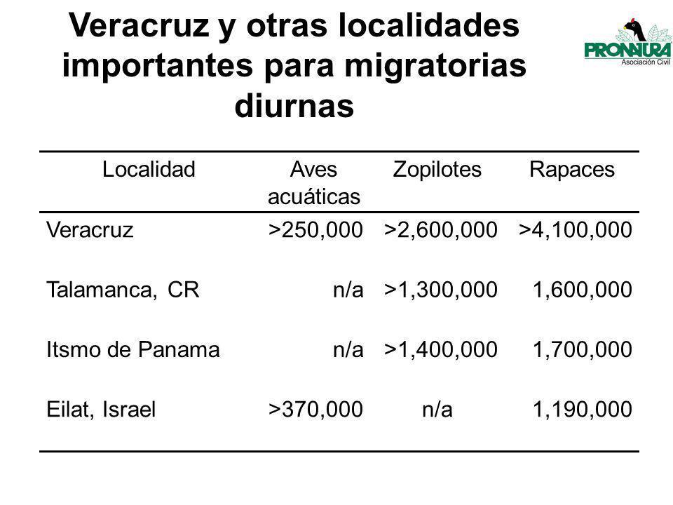 LocalidadAves acuáticas ZopilotesRapaces Veracruz>250,000>2,600,000>4,100,000 Talamanca, CRn/a>1,300,0001,600,000 Itsmo de Panaman/a>1,400,0001,700,000 Eilat, Israel>370,000n/a1,190,000 Veracruz y otras localidades importantes para migratorias diurnas