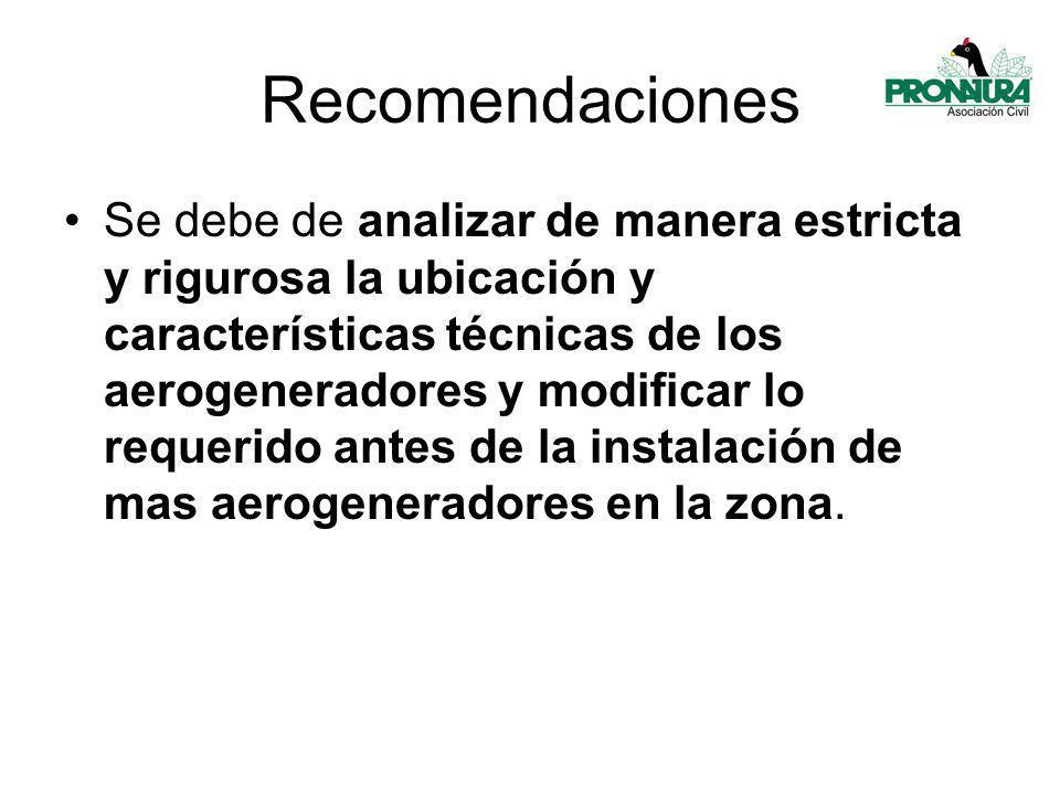 Recomendaciones Se debe de analizar de manera estricta y rigurosa la ubicación y características técnicas de los aerogeneradores y modificar lo requerido antes de la instalación de mas aerogeneradores en la zona.