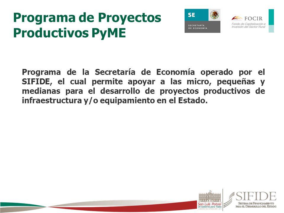 Programa de la Secretaría de Economía operado por el SIFIDE, el cual permite apoyar a las micro, pequeñas y medianas para el desarrollo de proyectos p