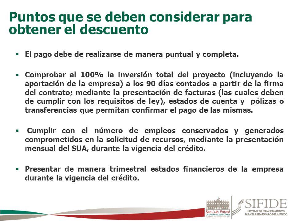 El pago debe de realizarse de manera puntual y completa. Comprobar al 100% la inversión total del proyecto (incluyendo la aportación de la empresa) a