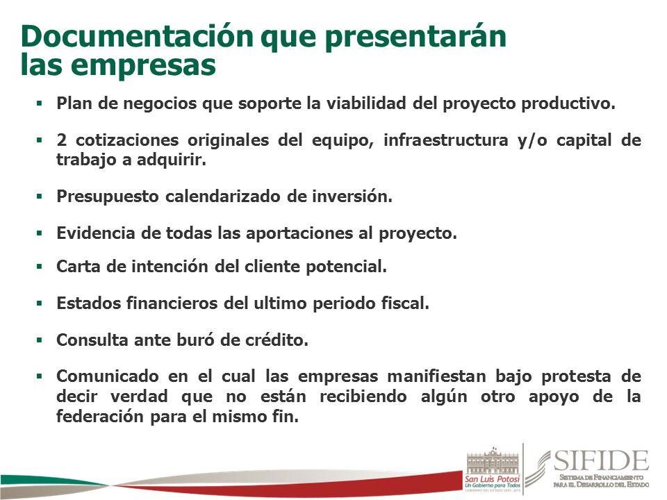 Plan de negocios que soporte la viabilidad del proyecto productivo. 2 cotizaciones originales del equipo, infraestructura y/o capital de trabajo a adq