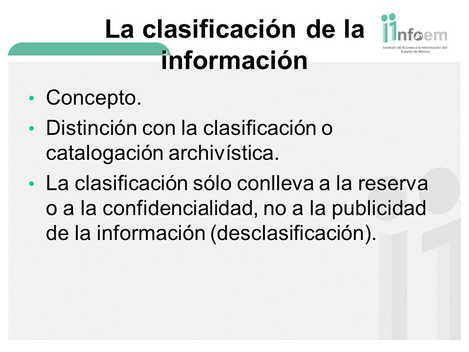 La clasificación de la información Concepto.Concepto.