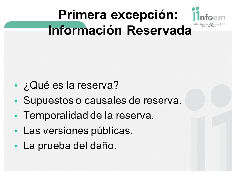 Primera excepción: Información Reservada ¿Qué es la reserva.