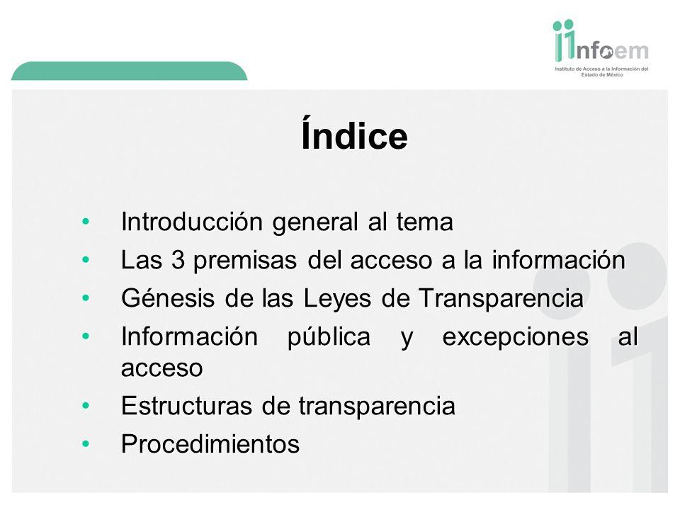 Índice Introducción general al temaIntroducción general al tema Las 3 premisas del acceso a la informaciónLas 3 premisas del acceso a la información Génesis de las Leyes de TransparenciaGénesis de las Leyes de Transparencia Información pública y excepciones al accesoInformación pública y excepciones al acceso Estructuras de transparenciaEstructuras de transparencia ProcedimientosProcedimientos