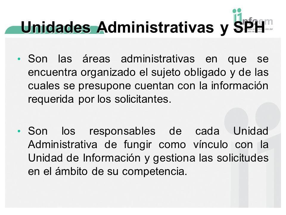 Son las áreas administrativas en que se encuentra organizado el sujeto obligado y de las cuales se presupone cuentan con la información requerida por los solicitantes.