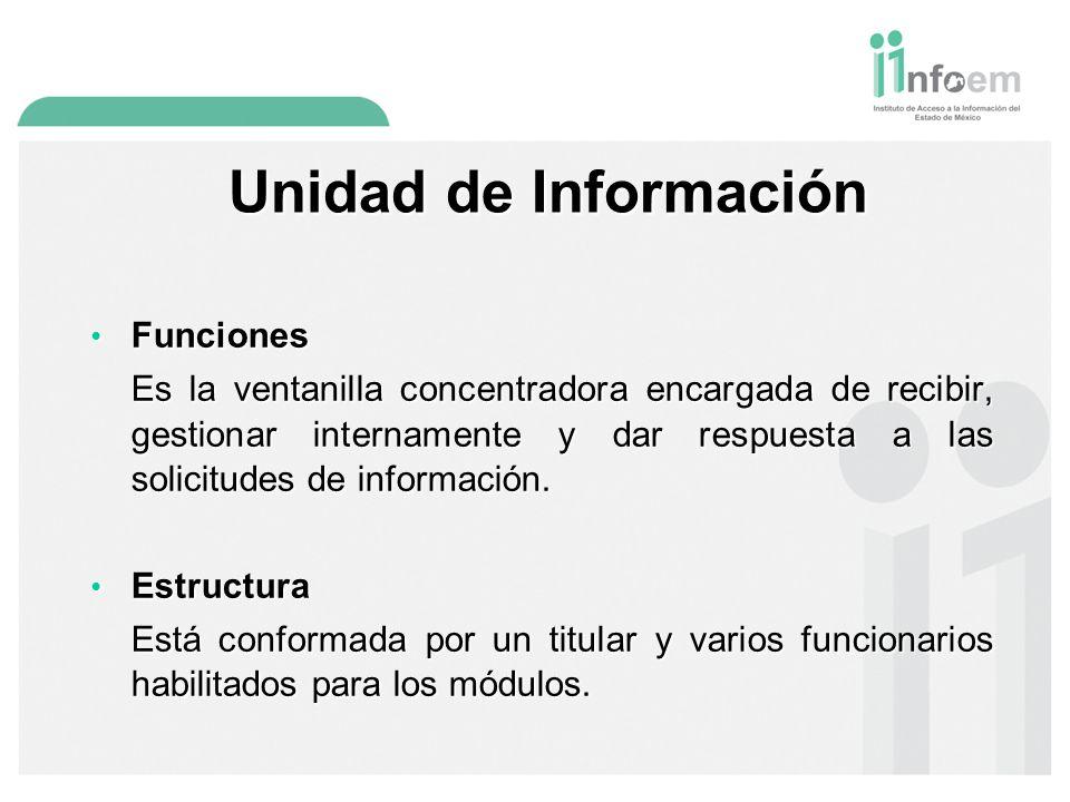 Unidad de Información Funciones Funciones Es la ventanilla concentradora encargada de recibir, gestionar internamente y dar respuesta a las solicitudes de información.