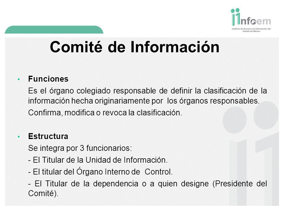 Comité de Información Funciones Funciones Es el órgano colegiado responsable de definir la clasificación de la información hecha originariamente por los órganos responsables.