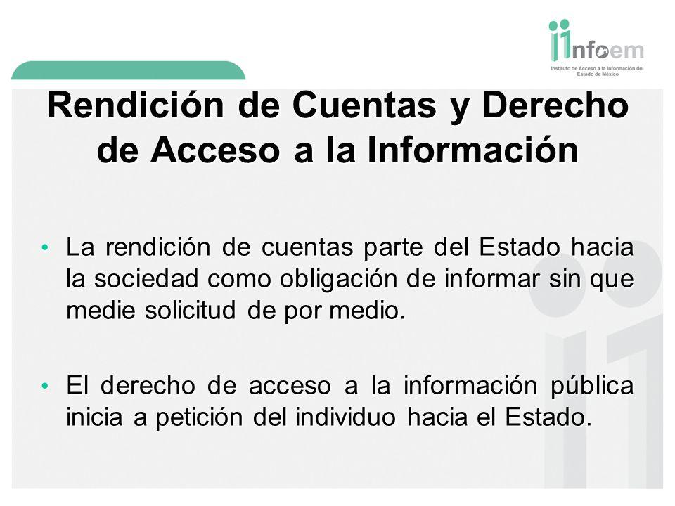 Rendición de Cuentas y Derecho de Acceso a la Información La rendición de cuentas parte del Estado hacia la sociedad como obligación de informar sin que medie solicitud de por medio.