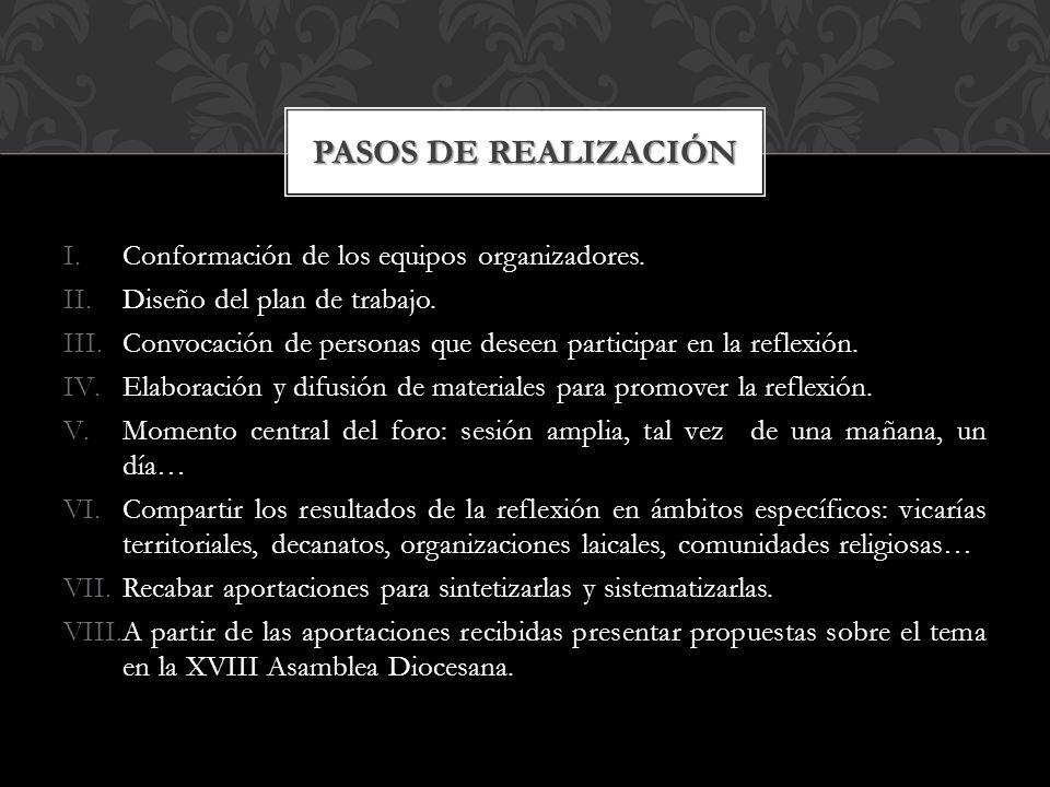 I.Conformación de los equipos organizadores. II.Diseño del plan de trabajo.