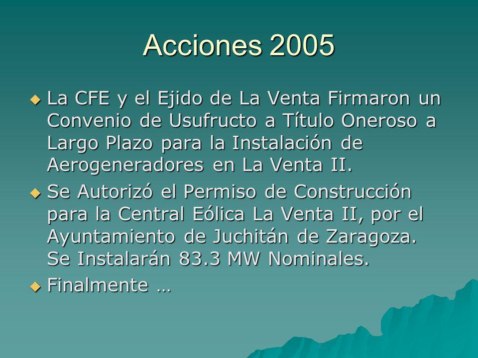 Acciones 2005 La CFE y el Ejido de La Venta Firmaron un Convenio de Usufructo a Título Oneroso a Largo Plazo para la Instalación de Aerogeneradores en La Venta II.