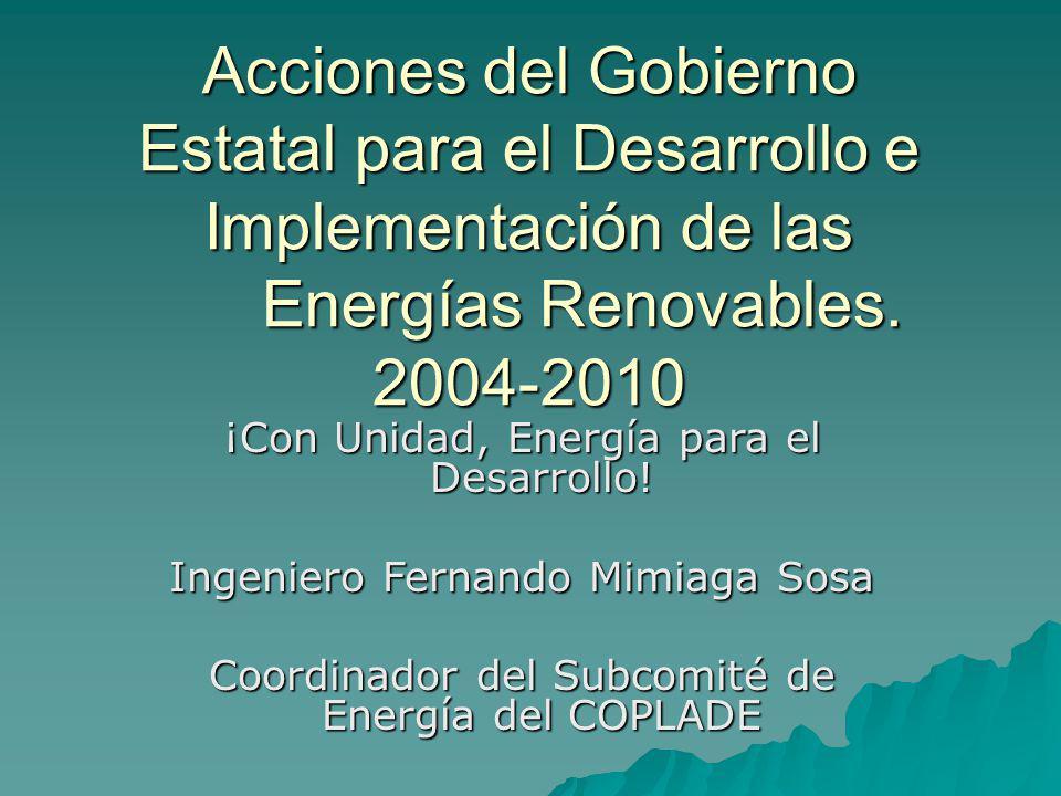 Acciones 2004 Apoyo al Desarrollo de Proyectos Eólicos: 100 MW del Sector Público, Más de 500 MW del Sector Privado.