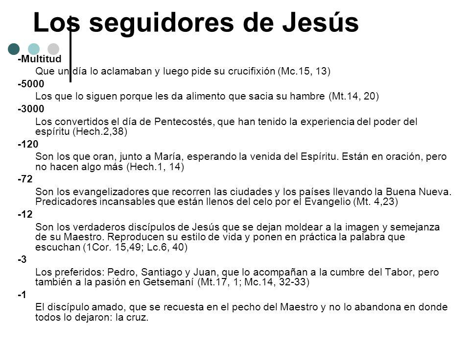 Los seguidores de Jesús -Multitud Que un día lo aclamaban y luego pide su crucifixión (Mc.15, 13) -5000 Los que lo siguen porque les da alimento que s