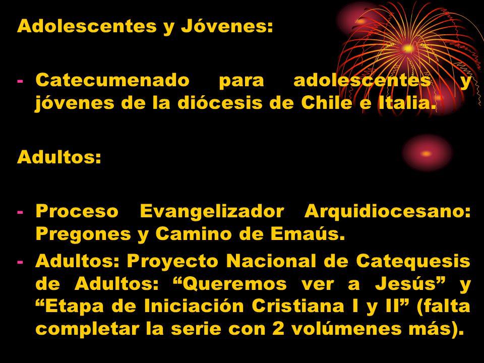 Adolescentes y Jóvenes: -Catecumenado para adolescentes y jóvenes de la diócesis de Chile e Italia. Adultos: -Proceso Evangelizador Arquidiocesano: Pr