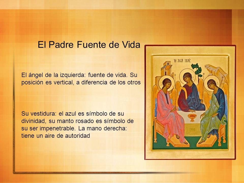 El Padre Fuente de Vida El ángel de la izquierda: fuente de vida. Su posición es vertical, a diferencia de los otros Su vestidura: el azul es símbolo