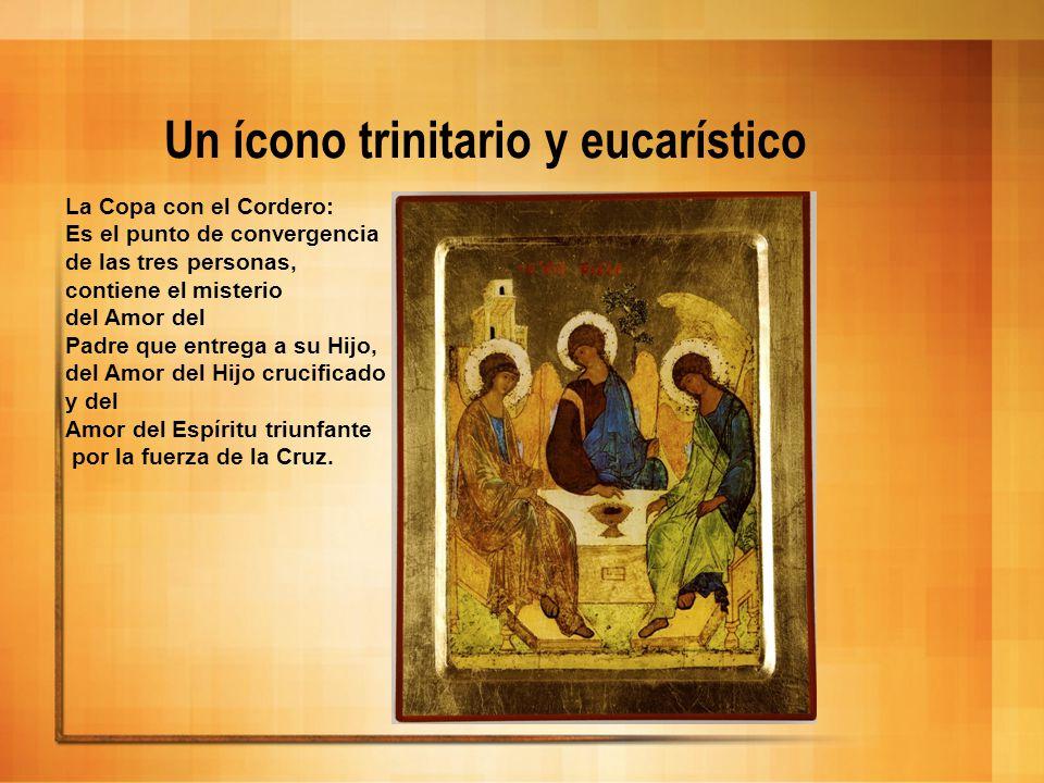 Un ícono trinitario y eucarístico La Copa con el Cordero: Es el punto de convergencia de las tres personas, contiene el misterio del Amor del Padre qu