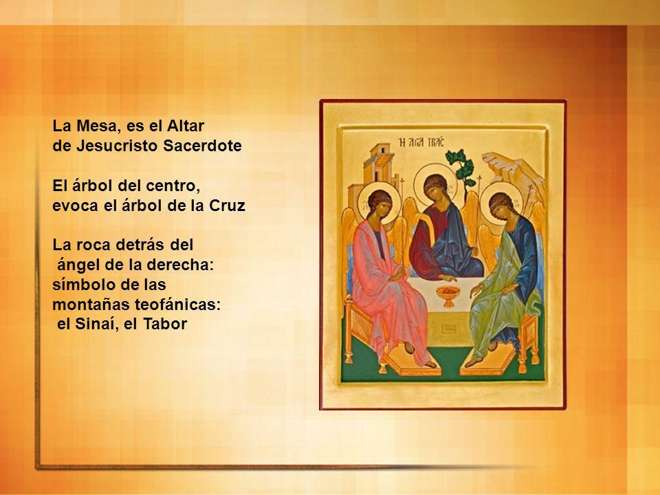 La Mesa, es el Altar de Jesucristo Sacerdote El árbol del centro, evoca el árbol de la Cruz La roca detrás del ángel de la derecha: símbolo de las mon