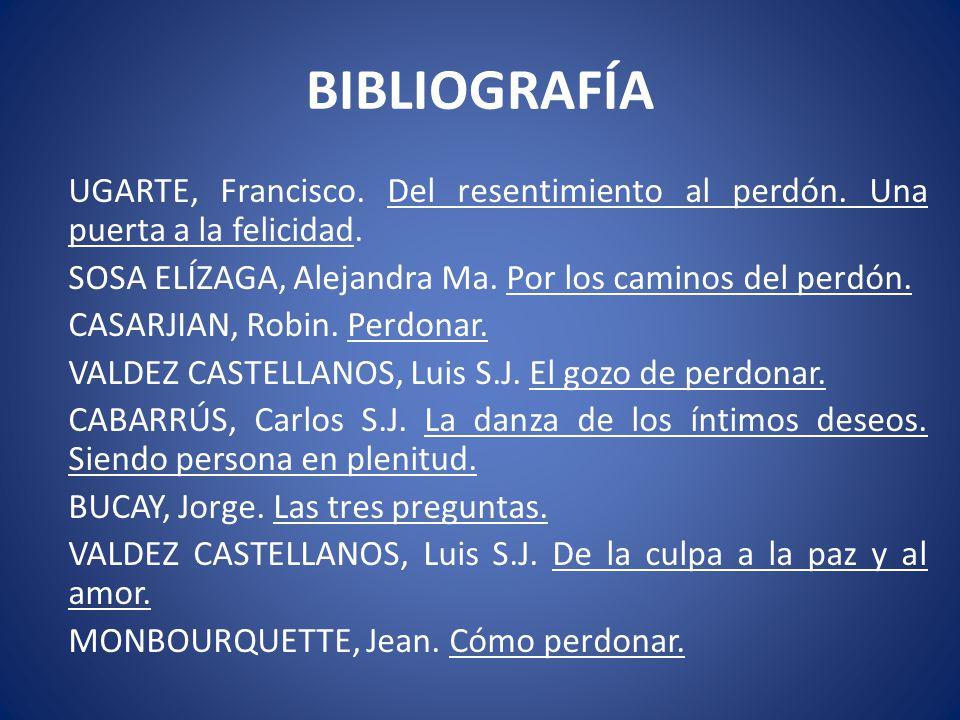 BIBLIOGRAFÍA UGARTE, Francisco. Del resentimiento al perdón. Una puerta a la felicidad. SOSA ELÍZAGA, Alejandra Ma. Por los caminos del perdón. CASARJ