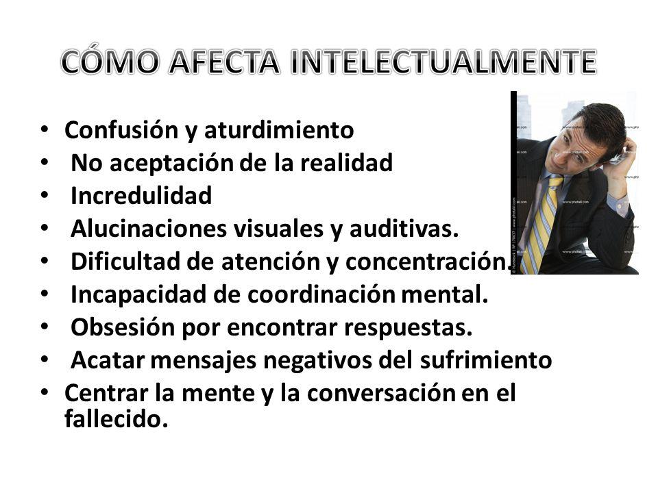 Confusión y aturdimiento No aceptación de la realidad Incredulidad Alucinaciones visuales y auditivas. Dificultad de atención y concentración. Incapac