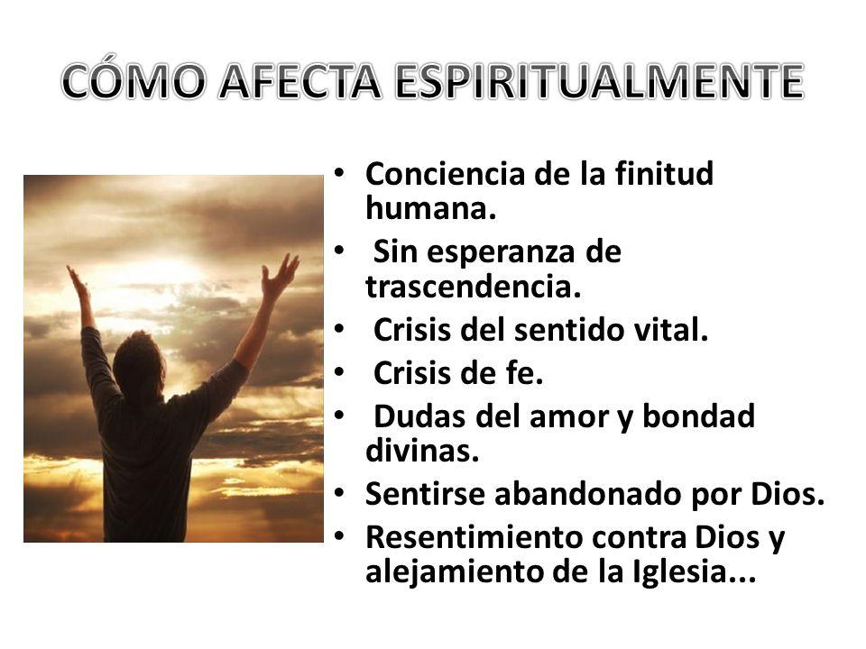 Conciencia de la finitud humana. Sin esperanza de trascendencia. Crisis del sentido vital. Crisis de fe. Dudas del amor y bondad divinas. Sentirse aba