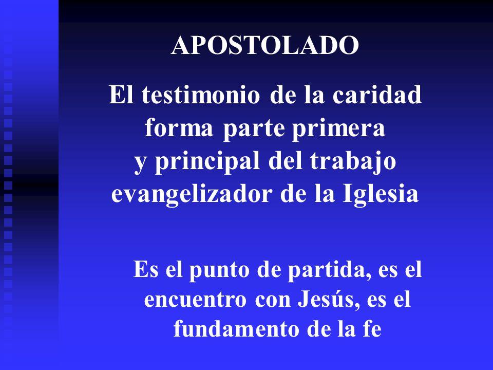 APOSTOLADO El testimonio de la caridad forma parte primera y principal del trabajo evangelizador de la Iglesia Es el punto de partida, es el encuentro con Jesús, es el fundamento de la fe