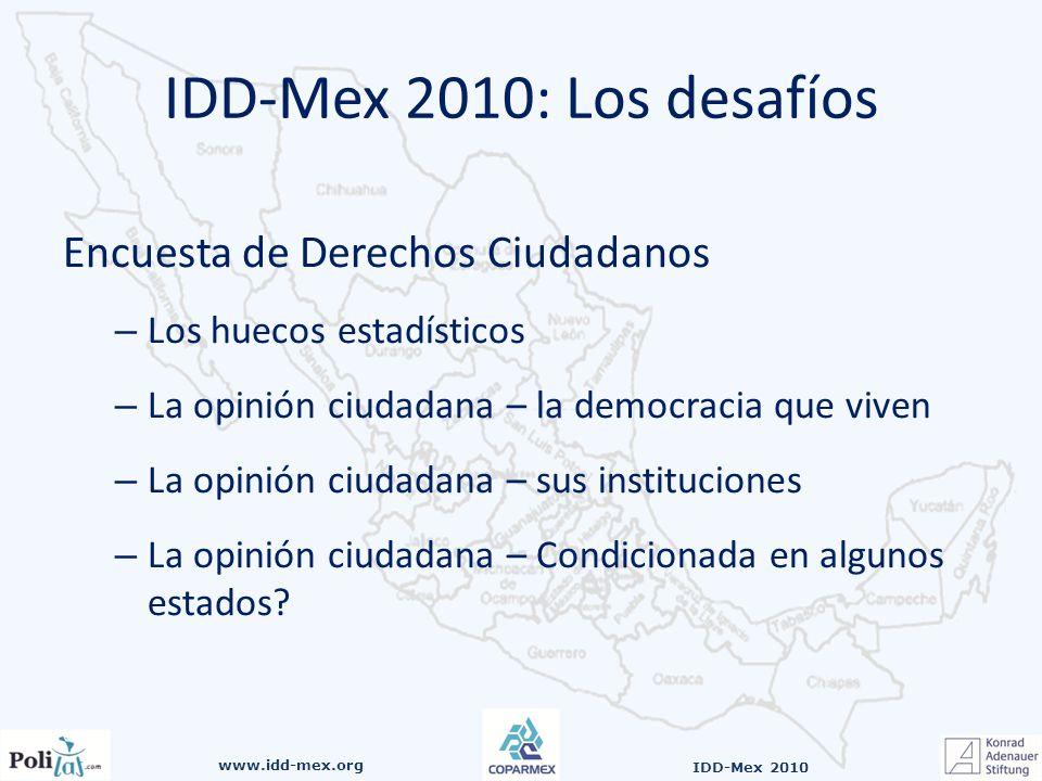 www.idd-mex.org IDD-Mex 2010 Encuesta de Derechos Ciudadanos –L–Los huecos estadísticos –L–La opinión ciudadana – la democracia que viven –L–La opinión ciudadana – sus instituciones –L–La opinión ciudadana – Condicionada en algunos estados.