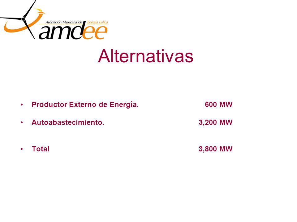 Alternativas Productor Externo de Energía. 600 MW Autoabastecimiento.3,200 MW Total 3,800 MW