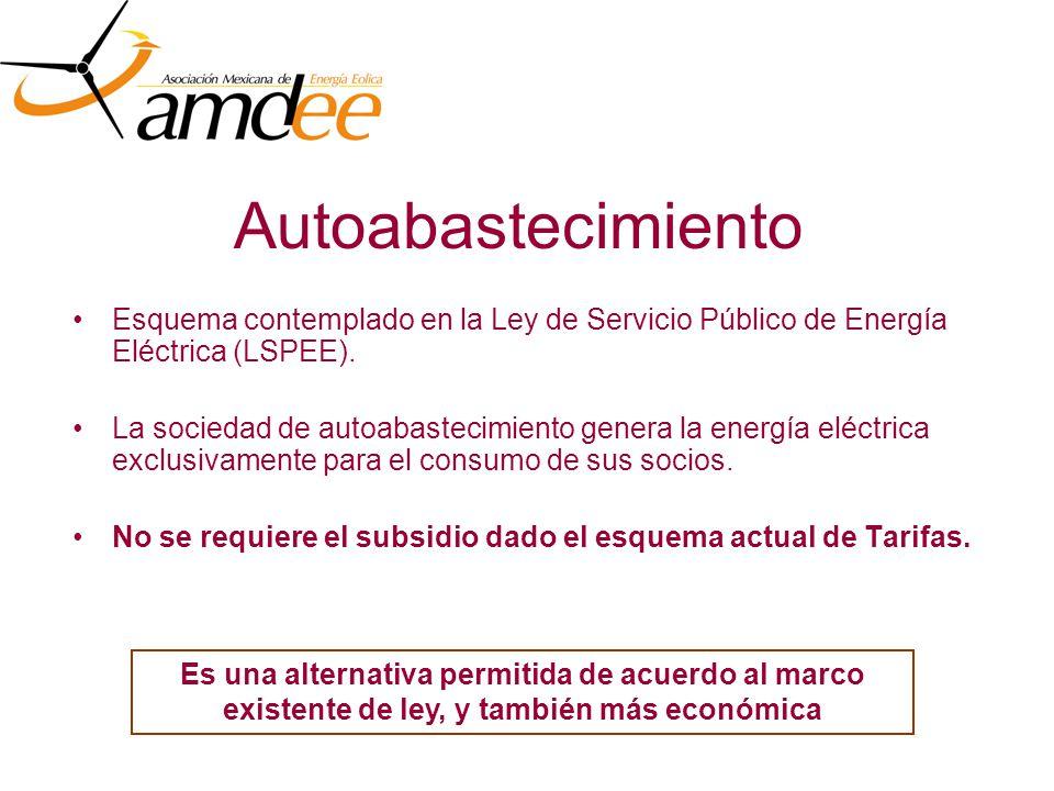 Autoabastecimiento Esquema contemplado en la Ley de Servicio Público de Energía Eléctrica (LSPEE).