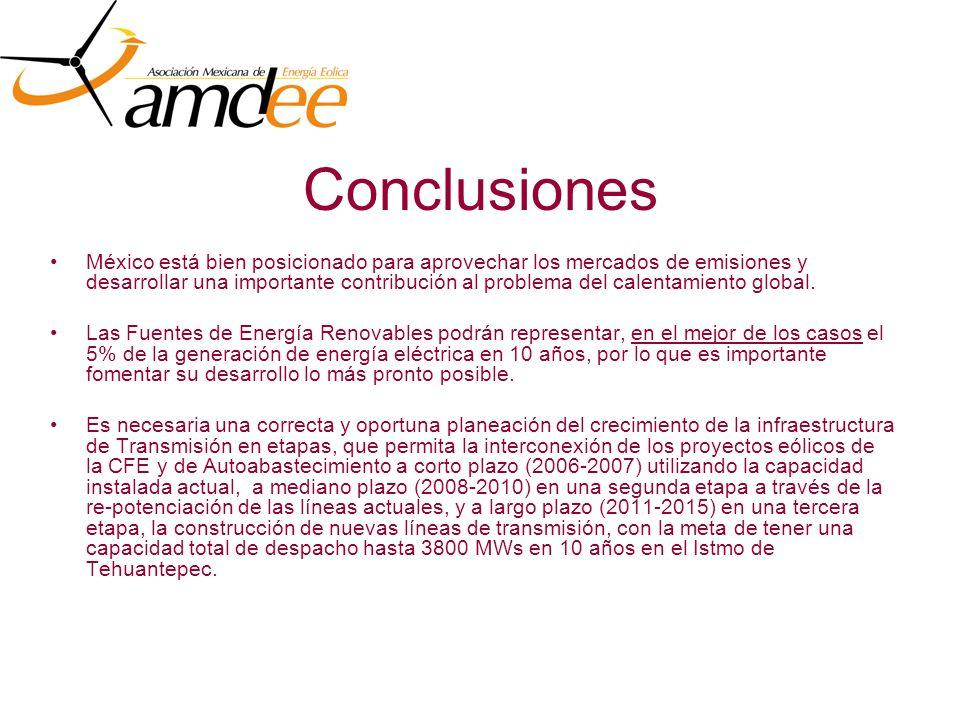 Conclusiones México está bien posicionado para aprovechar los mercados de emisiones y desarrollar una importante contribución al problema del calentamiento global.