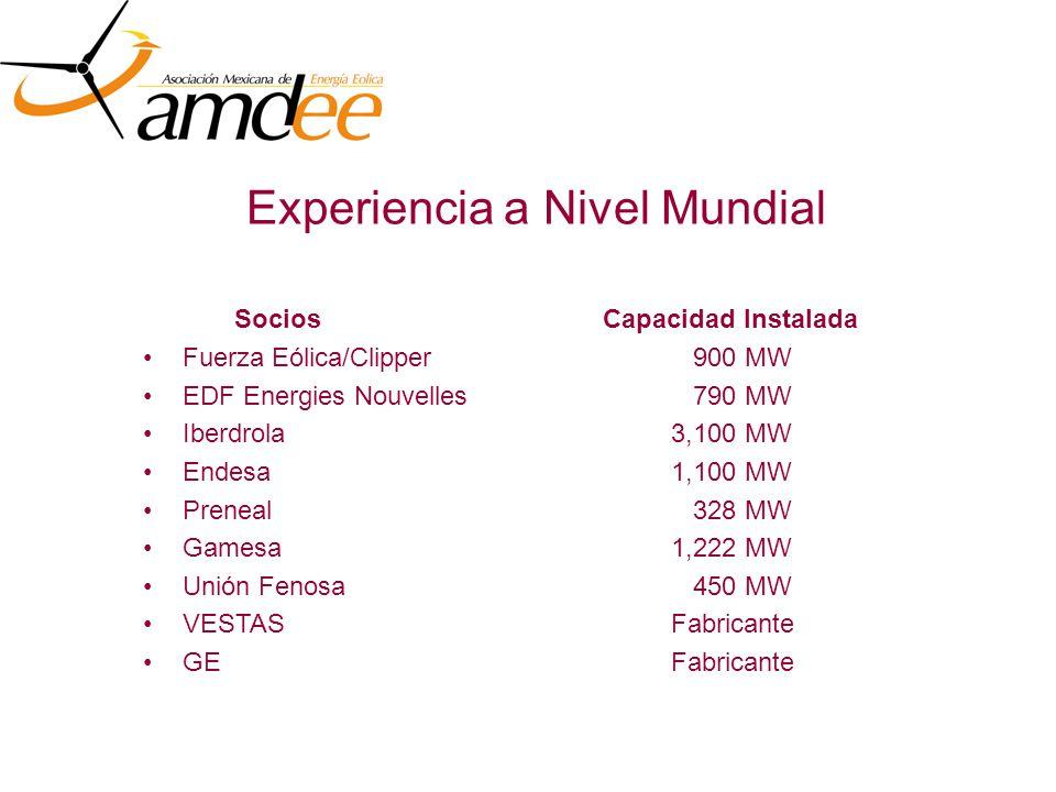 Experiencia a Nivel Mundial Fuerza Eólica/Clipper 900 MW EDF Energies Nouvelles 790 MW Iberdrola3,100 MW Endesa1,100 MW Preneal 328 MW Gamesa1,222 MW Unión Fenosa 450 MW VESTASFabricante GEFabricante SociosCapacidad Instalada