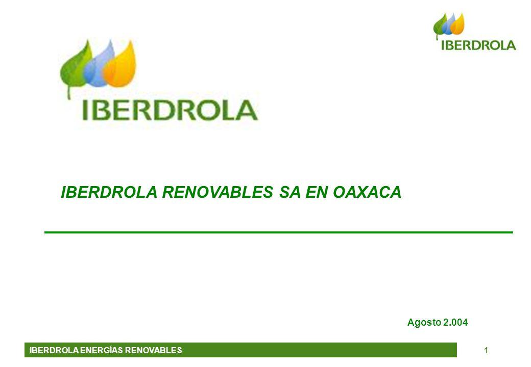 IBERDROLA ENERGÍAS RENOVABLES2 Iberdrola Renovables (Iberenova) es la empresa de Iberdrola dedicada a las energías renovables Preseión ntac Forma parte del Grupo Iberdrola (100% del capital) y es una de sus cinco Unidades de Negocio Se dedica a la promoción, desarrollo y explotación de centrales de generación eléctrica de origen renovable (eólica, hidráulica, solar, olas…) Históricamente ha sido pionera en el sector (hidráulica y eólica) pero es a partir de 2001 cuando Iberenova pasa a ser un pilar básico de la Estrategia de Iberdrola Su objetivo es convertirse en la primera empresa mundial en energías renovables