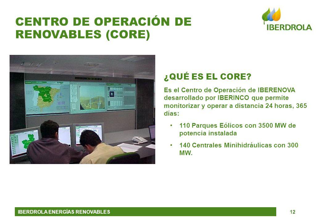 IBERDROLA ENERGÍAS RENOVABLES12 ¿QUÉ ES EL CORE? Es el Centro de Operación de IBERENOVA desarrollado por IBERINCO que permite monitorizar y operar a d