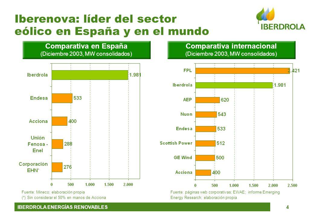IBERDROLA ENERGÍAS RENOVABLES4 Iberenova: líder del sector eólico en España y en el mundo Fuente: páginas web corporativas; EWAE; informe Emerging Ene