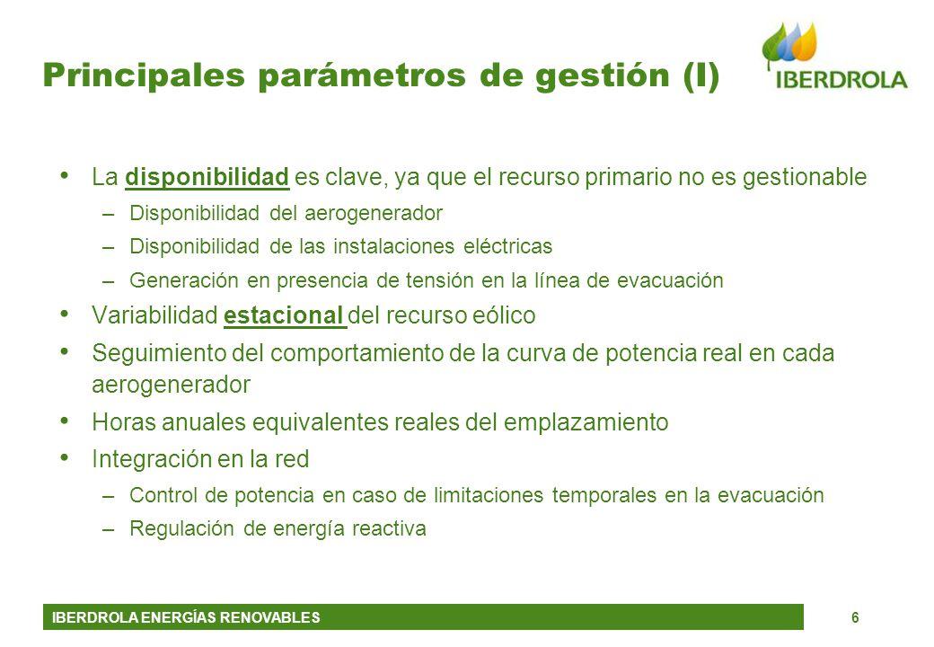 IBERDROLA ENERGÍAS RENOVABLES6 Principales parámetros de gestión (I) La disponibilidad es clave, ya que el recurso primario no es gestionable –Disponi