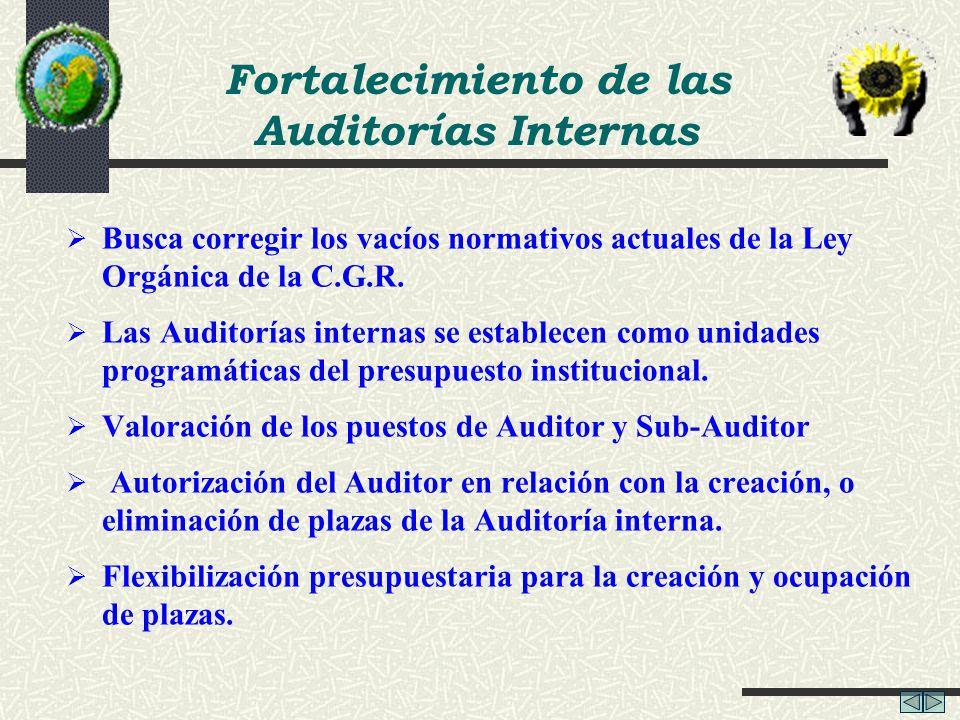 Busca corregir los vacíos normativos actuales de la Ley Orgánica de la C.G.R. Las Auditorías internas se establecen como unidades programáticas del pr