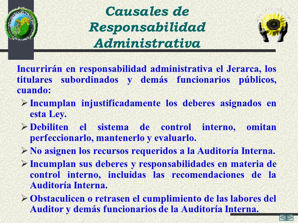 Causales de Responsabilidad Administrativa Incurrirán en responsabilidad administrativa el Jerarca, los titulares subordinados y demás funcionarios pú