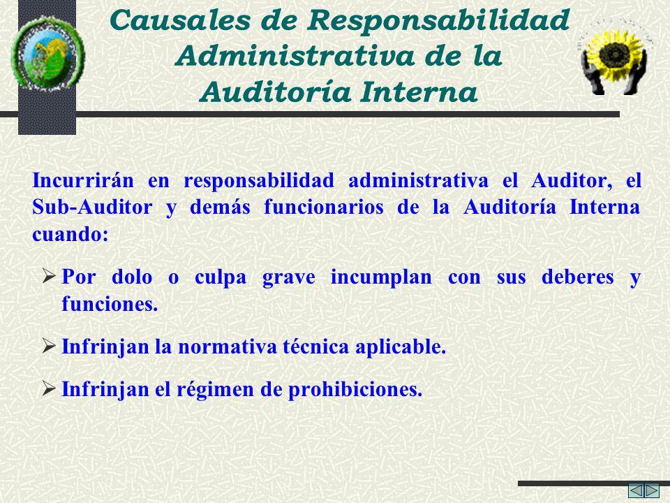 Causales de Responsabilidad Administrativa de la Auditoría Interna Incurrirán en responsabilidad administrativa el Auditor, el Sub-Auditor y demás fun