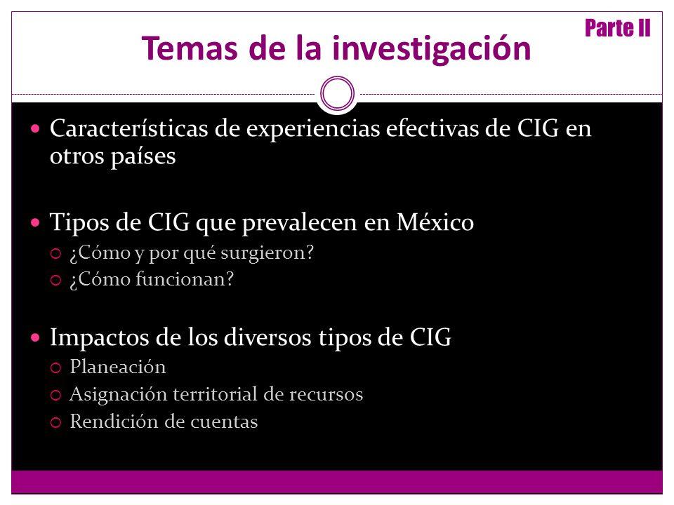 Temas de la investigación Características de experiencias efectivas de CIG en otros países Tipos de CIG que prevalecen en México ¿Cómo y por qué surgieron.