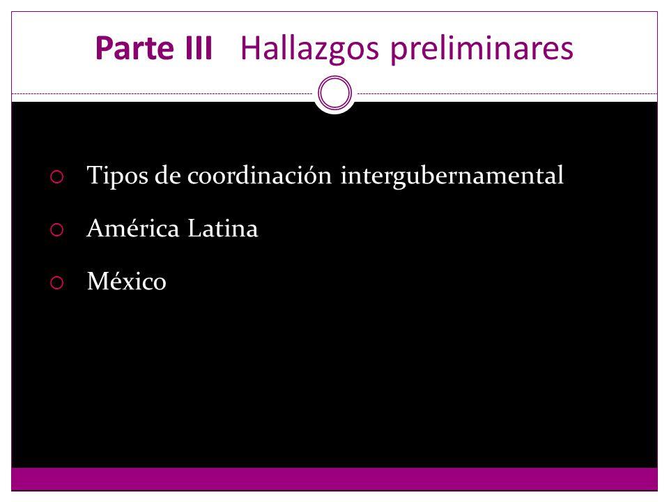 Parte III Hallazgos preliminares Tipos de coordinación intergubernamental América Latina México