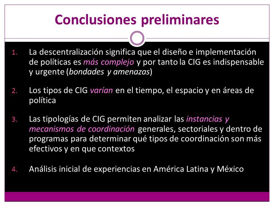 Conclusiones preliminares 1.