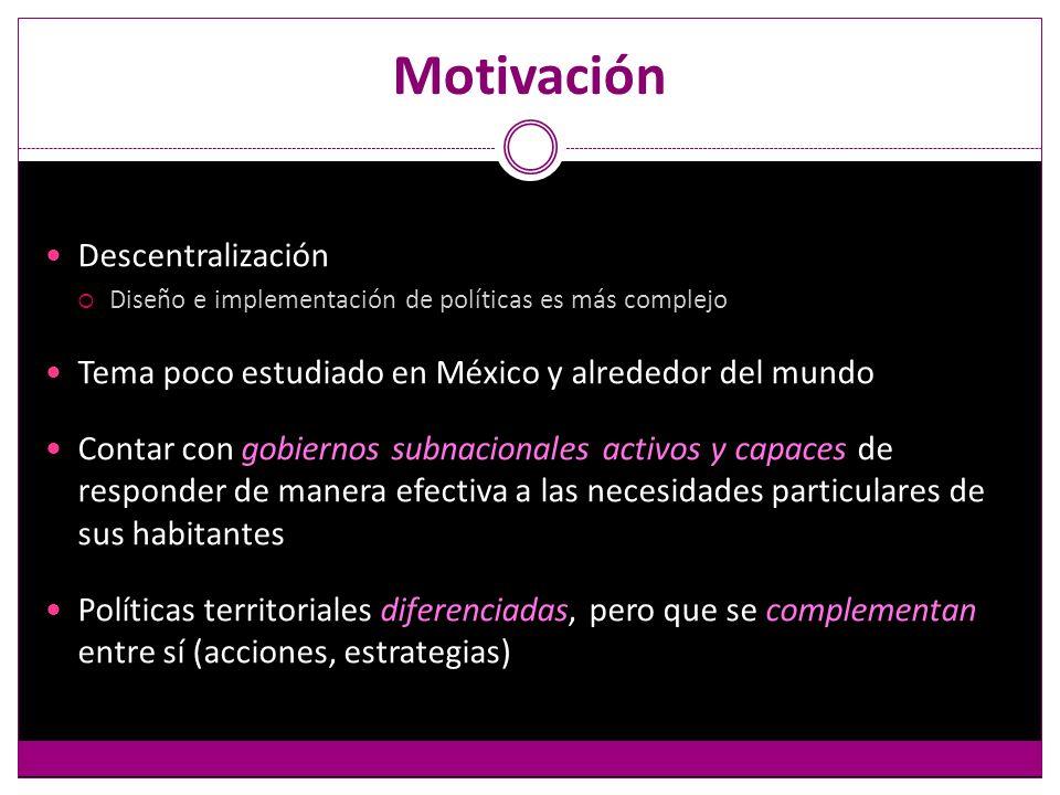 Motivación Descentralización Diseño e implementación de políticas es más complejo Tema poco estudiado en México y alrededor del mundo Contar con gobiernos subnacionales activos y capaces de responder de manera efectiva a las necesidades particulares de sus habitantes Políticas territoriales diferenciadas, pero que se complementan entre sí (acciones, estrategias)