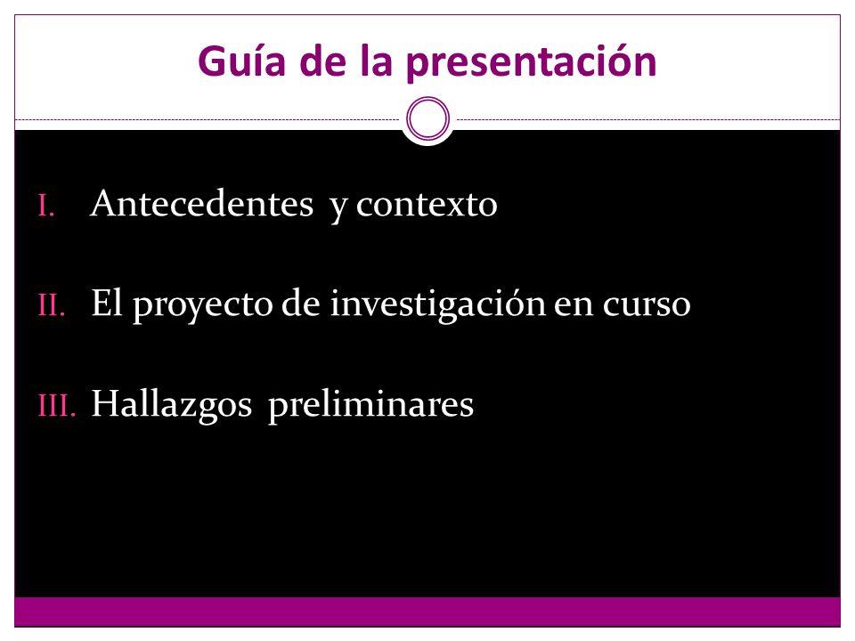 Guía de la presentación I. Antecedentes y contexto II.